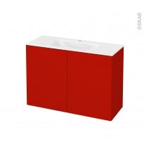 GINKO Rouge - Meuble salle de bains N°712 - Vasque VALA - 2 portes Prof.40 - L100,5xH71,2xP40,5