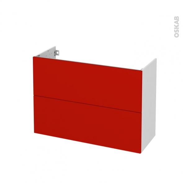 GINKO Rouge - Meuble sous vasque N°611 - Côté blanc - 2 tiroirs prof.40 - L100xH70xP40