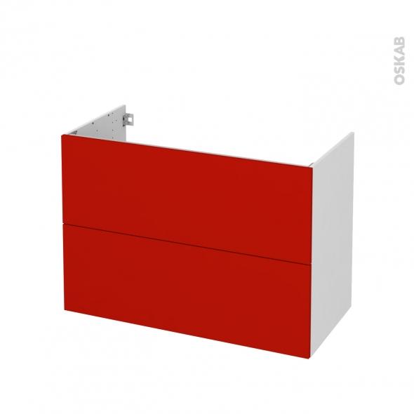 GINKO Rouge - Meuble sous vasque N°611 - Côté blanc - 2 tiroirs - L100xH70xP50