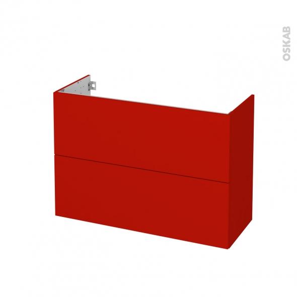 GINKO Rouge - Meuble sous vasque N°612 - Côté décor - 2 tiroirs prof.40 - L100xH70xP40