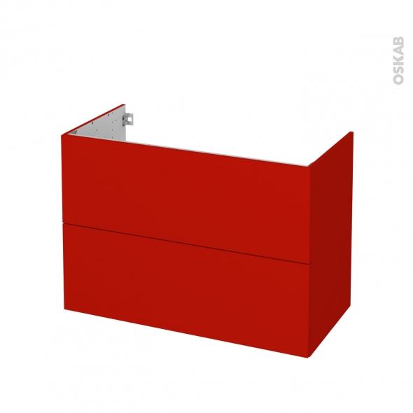 GINKO Rouge - Meuble sous vasque N°612 - Côté décor - 2 tiroirs - L100xH70xP50