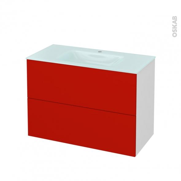 GINKO Rouge - Meuble salle de bains N°611 - Vasque EGEE - 2 tiroirs  - L100,5xH71,2xP50,5