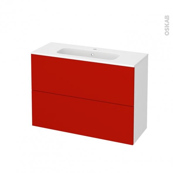 GINKO Rouge - Meuble salle de bains N°611 - Vasque REZO - 2 tiroirs Prof.40 - L100,5xH71,5xP40,5
