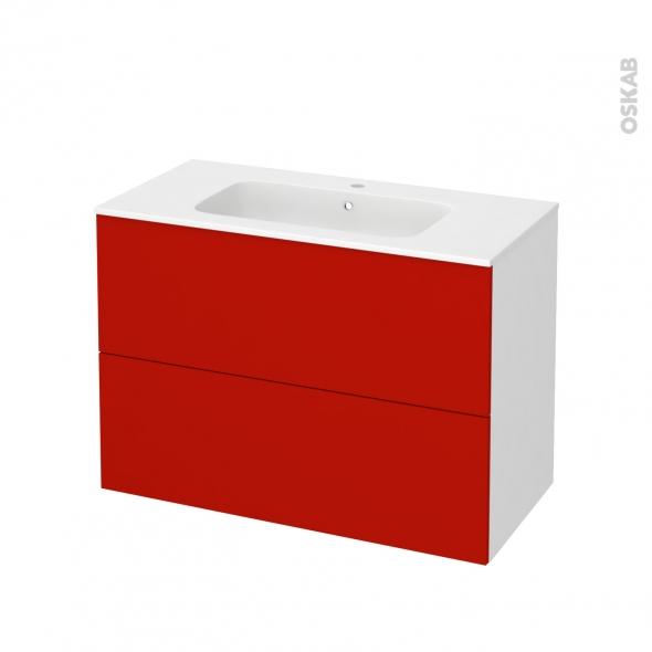 GINKO Rouge - Meuble salle de bains N°611 - Vasque REZO - 2 tiroirs  - L100,5xH71,5xP50,5