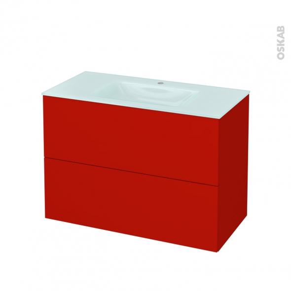 GINKO Rouge - Meuble salle de bains N°612 - Vasque EGEE - 2 tiroirs  - L100,5xH71,2xP50,5