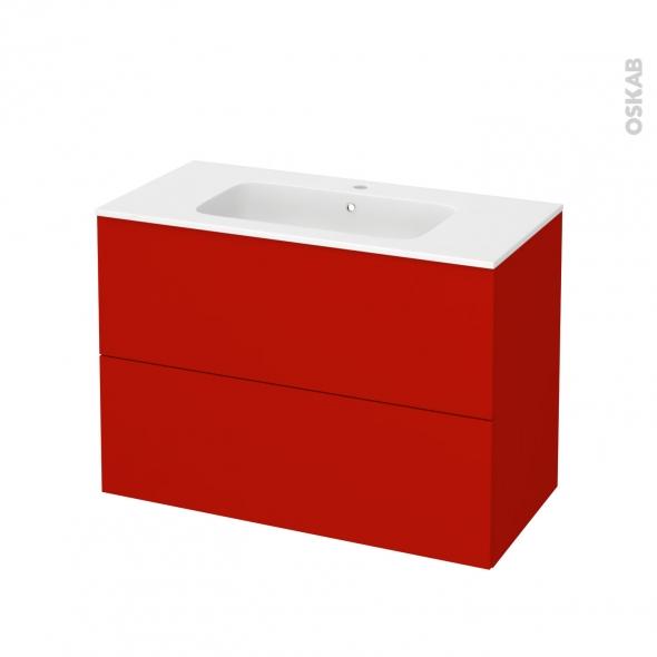 GINKO Rouge - Meuble salle de bains N°612 - Vasque REZO - 2 tiroirs  - L100,5xH71,5xP50,5
