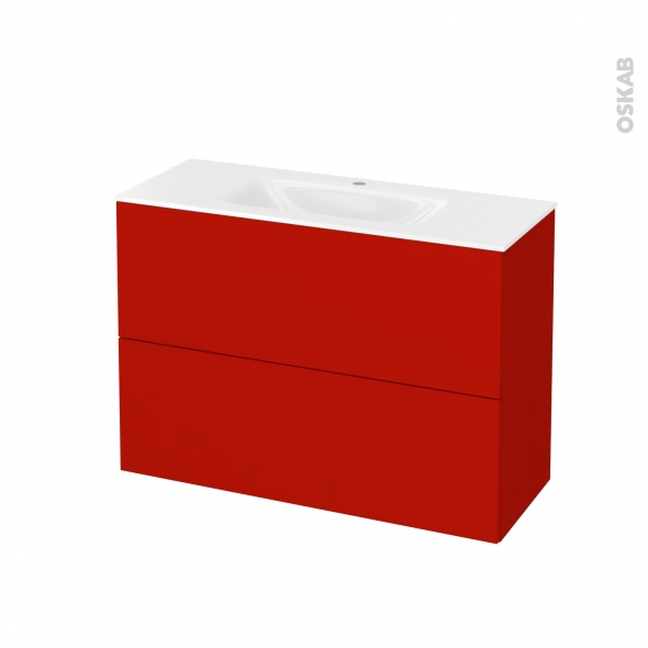GINKO Rouge - Meuble salle de bains N°612 - Vasque VALA - 2 tiroirs Prof.40 - L100,5xH71,2xP40,5