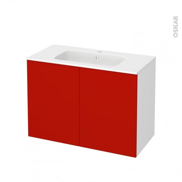 GINKO Rouge - Meuble salle de bains N°711 - Vasque REZO - 2 portes  - L100,5xH71,5xP50,5