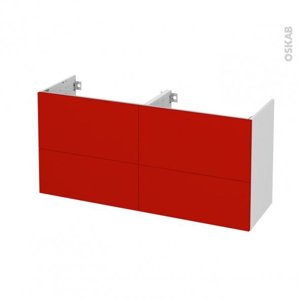 GINKO Rouge - Meuble sous vasque N°671 - Côté blanc - Double vasque - 4 tiroirs prof.40 - L120xH57xP40