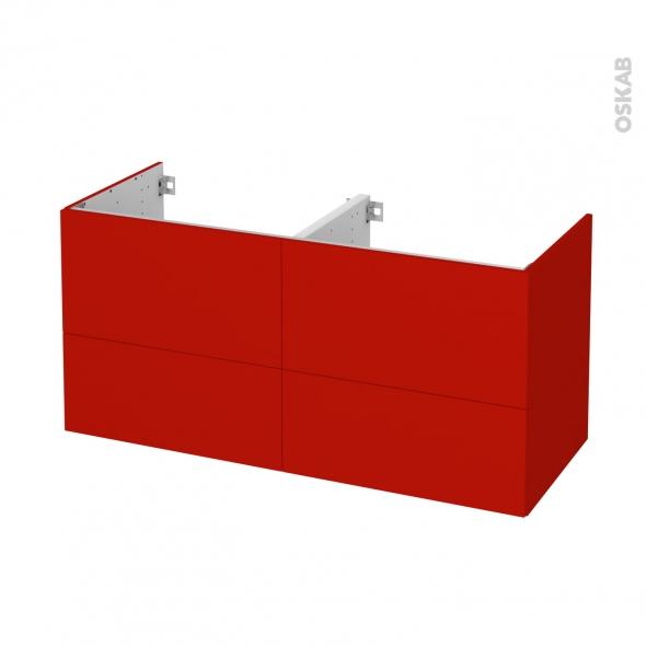 GINKO Rouge - Meuble sous vasque N°672 - Côté décor - Double vasque - 4 tiroirs - L120xH57xP50