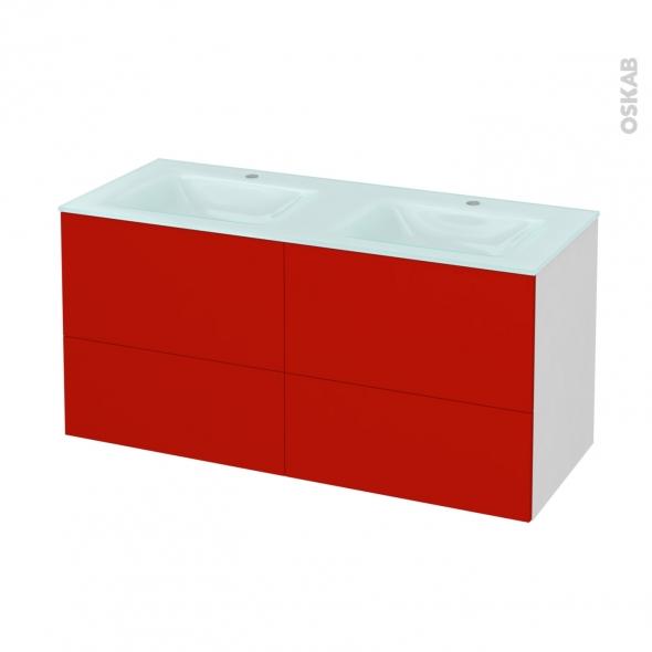 GINKO Rouge - Meuble salle de bains N°671 - Double vasque EGEE - 4 tiroirs  - L120,5xH58,2xP50,5