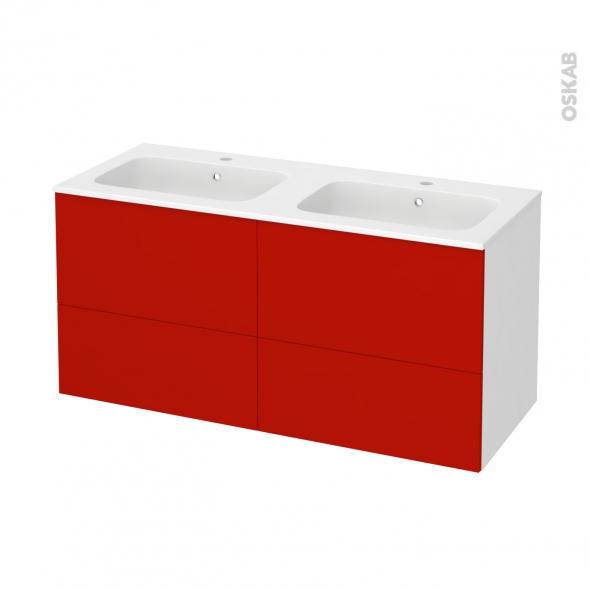 GINKO Rouge - Meuble salle de bains N°671 - Double vasque REZO - 4 tiroirs  - L120,5xH58,5xP50,5