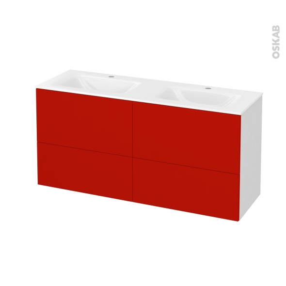 GINKO Rouge - Meuble salle de bains N°671 - Double vasque VALA - 4 tiroirs Prof.40 - L120,5xH58,2xP40,5