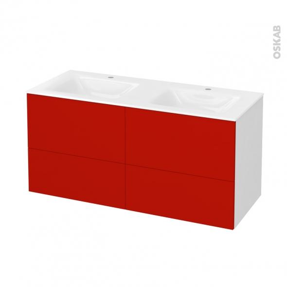 GINKO Rouge - Meuble salle de bains N°671 - Double vasque VALA - 4 tiroirs  - L120,5xH58,2xP50,5