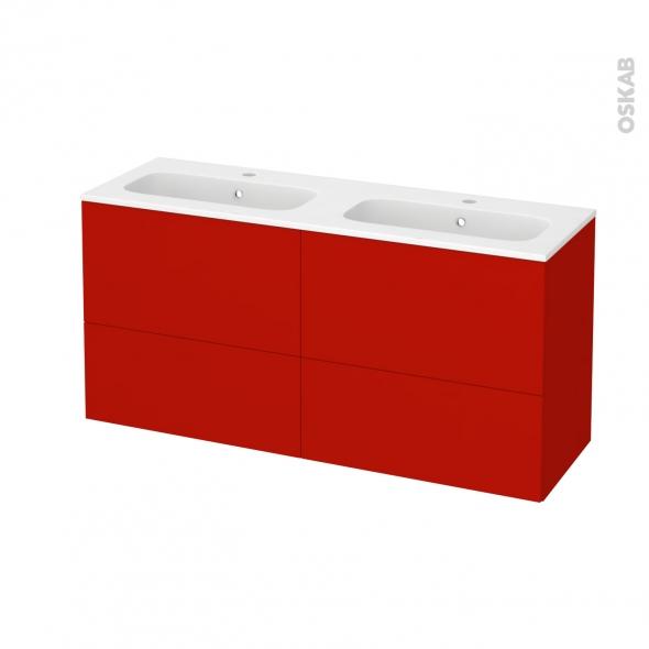 GINKO Rouge - Meuble salle de bains N°672 - Double vasque REZO - 4 tiroirs Prof.40 - L120,5xH58,5xP40,5
