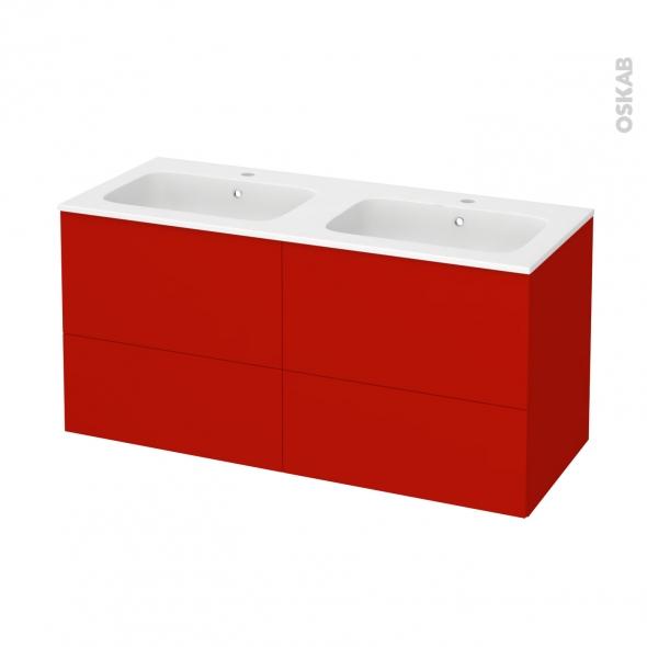 GINKO Rouge - Meuble salle de bains N°672 - Double vasque REZO - 4 tiroirs  - L120,5xH58,5xP50,5
