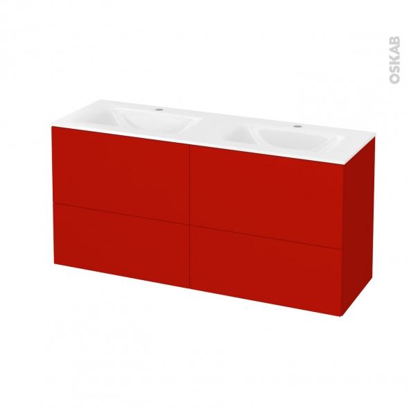 GINKO Rouge - Meuble salle de bains N°672 - Double vasque VALA - 4 tiroirs Prof.40 - L120,5xH58,2xP40,5