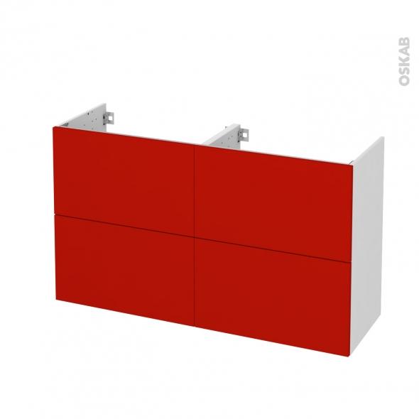 GINKO Rouge - Meuble sous vasque N°721 - Côté blanc - Double vasque - 4 tiroirs prof.40 - L120xH70xP40