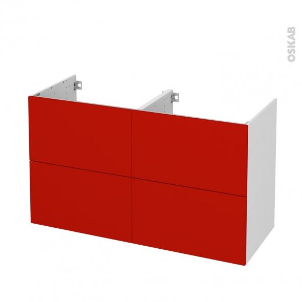 GINKO Rouge - Meuble sous vasque N°721 - Côté blanc - Double vasque - 4 tiroirs - L120xH70xP50
