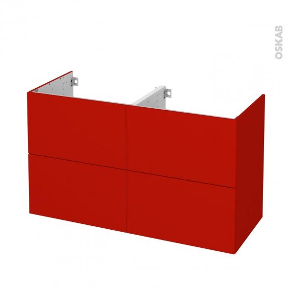 GINKO Rouge - Meuble sous vasque N°722 - Côté décor - Double vasque - 4 tiroirs - L120xH70xP50