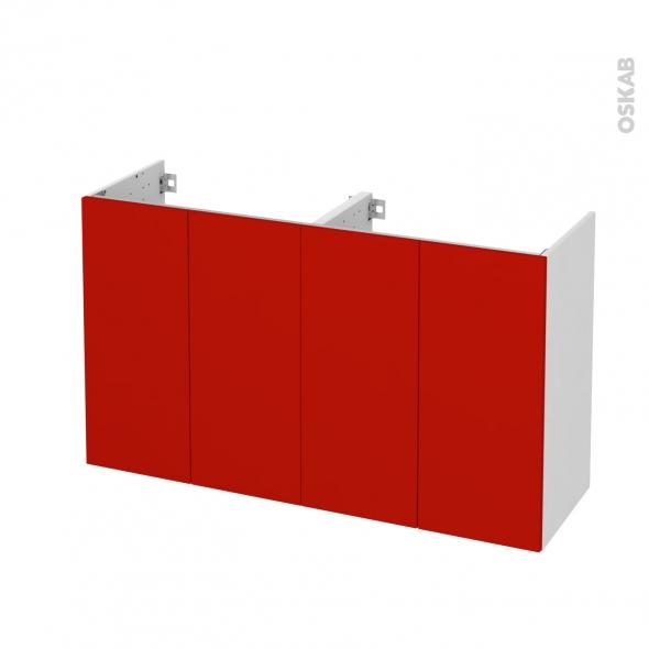 GINKO Rouge - Meuble sous vasque N°731 - Côté blanc - Double vasque - 4 portes prof.40 - L120xH70xP40