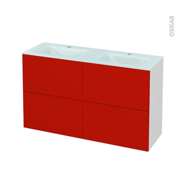 GINKO Rouge - Meuble salle de bains N°721 - Double vasque EGEE - 4 tiroirs Prof.40 - L120,5xH71,2xP40,5