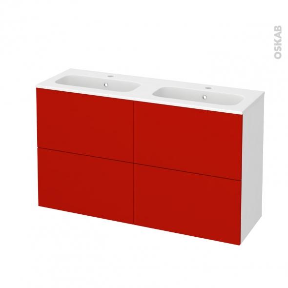 GINKO Rouge - Meuble salle de bains N°721 - Double vasque REZO - 4 tiroirs Prof.40 - L120,5xH71,5xP40,5