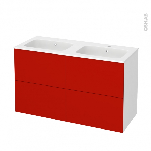 GINKO Rouge - Meuble salle de bains N°721 - Double vasque REZO - 4 tiroirs  - L120,5xH71,5xP50,5