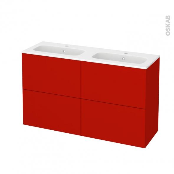GINKO Rouge - Meuble salle de bains N°722 - Double vasque REZO - 4 tiroirs Prof.40 - L120,5xH71,5xP40,5