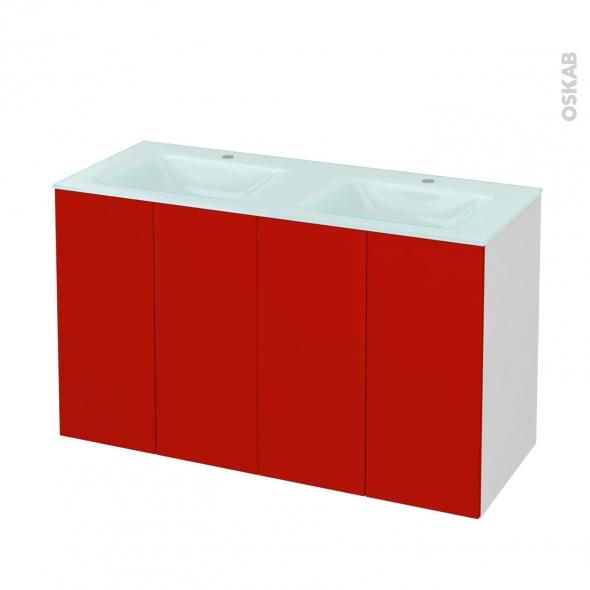GINKO Rouge - Meuble salle de bains N°731 - Double vasque EGEE - 4 portes  - L120,5xH71,2xP50,5