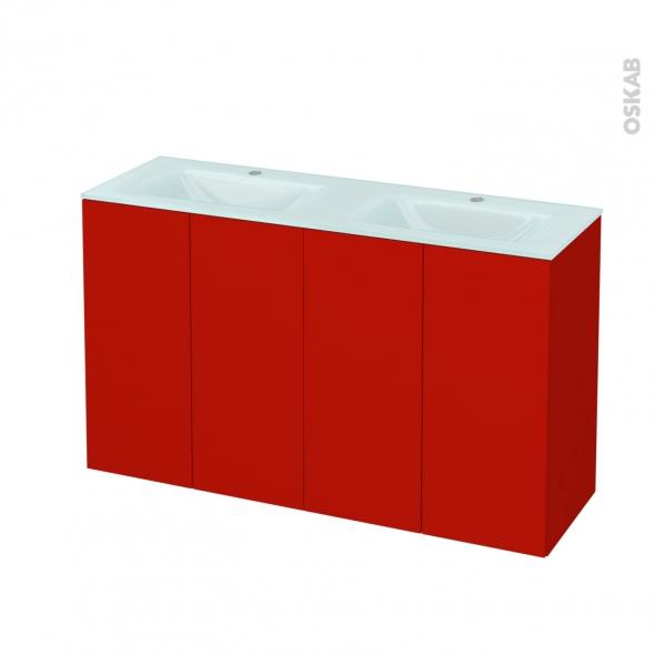 GINKO Rouge - Meuble salle de bains N°732 - Double vasque EGEE - 4 portes Prof.40 - L120,5xH71,2xP40,5