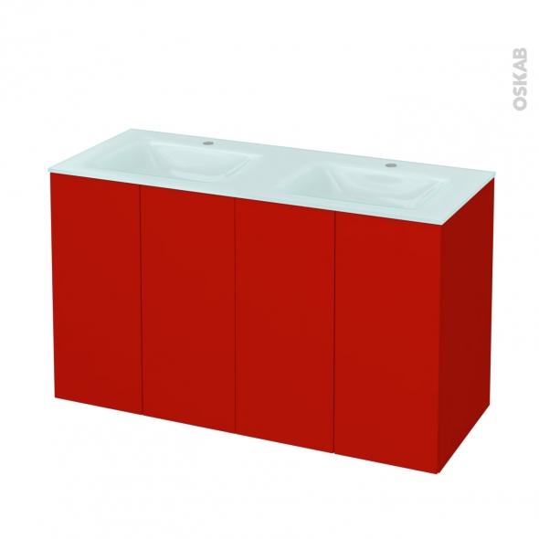 GINKO Rouge - Meuble salle de bains N°732 - Double vasque EGEE - 4 portes  - L120,5xH71,2xP50,5