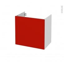 GINKO Rouge - Meuble sous vasque N°161 - Côté blanc - 1 porte prof.40 - L60xH57xP40