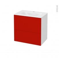 GINKO Rouge - Meuble salle de bains N°621 - Vasque VALA - 2 tiroirs Prof.40 - L60,5xH58,2xP40,5