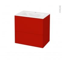GINKO Rouge - Meuble salle de bains N°622 - Vasque VALA - 2 tiroirs Prof.40 - L60,5xH58,2xP40,5