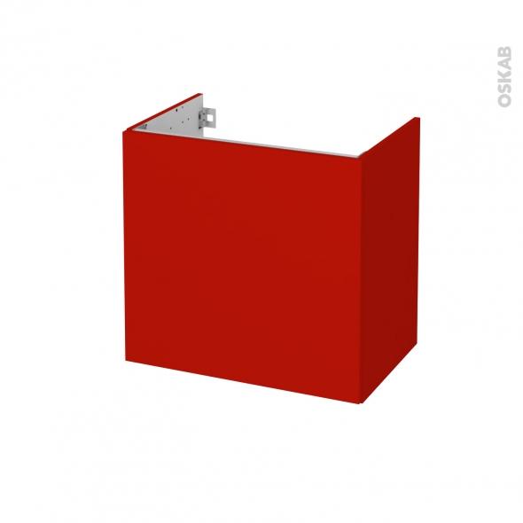 GINKO Rouge  - Meuble sous vasque N°162 - Côté décor - 1 porte prof.40 - L60xH57xP40