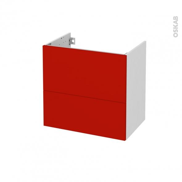 GINKO Rouge - Meuble sous vasque  N°621 - Côté blanc - 2 tiroirs prof.40 - L60xH57xP40