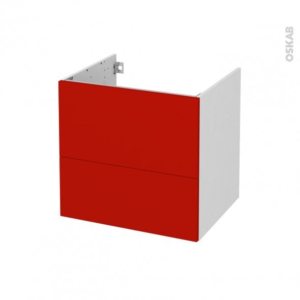 GINKO Rouge - Meuble sous vasque  N°621 - Côté blanc - 2 tiroirs - L60xH57xP50