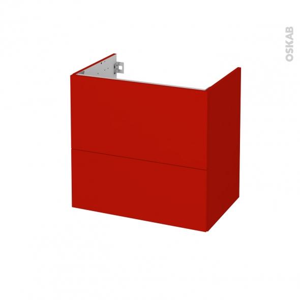 GINKO Rouge - Meuble sous vasque N°622 - Côté décor - 2 tiroirs prof.40 - L60xH57xP40