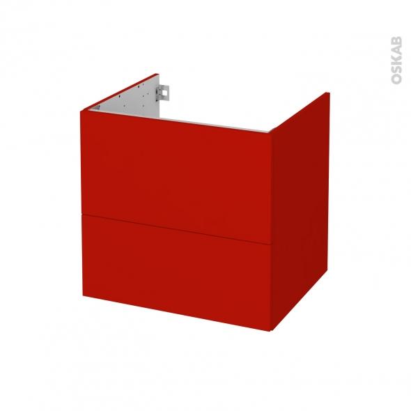 GINKO Rouge - Meuble sous vasque N°622 - Côté décor - 2 tiroirs - L60xH57xP50