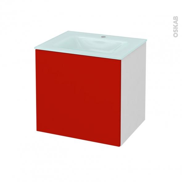 GINKO Rouge - Meuble salle de bains N°161 - Vasque EGEE - 1 porte  - L60,5xH58,2xP50,5