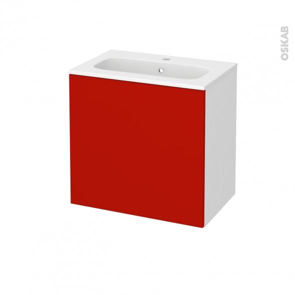 GINKO Rouge - Meuble salle de bains N°161 - Vasque REZO - 1 porte Prof.40 - L60,5xH58,5xP40,5