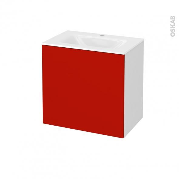 GINKO Rouge - Meuble salle de bains N°161 - Vasque VALA - 1 porte Prof.40 - L60,5xH58,2xP40,5