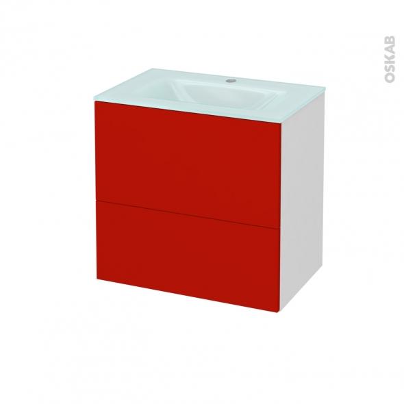 GINKO Rouge - Meuble salle de bains N°621 - Vasque EGEE - 2 tiroirs Prof.40 - L60,5xH58,2xP40,5