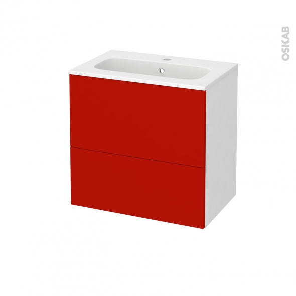GINKO Rouge - Meuble salle de bains N°621 - Vasque REZO - 2 tiroirs Prof.40 - L60,5xH58,5xP40,5