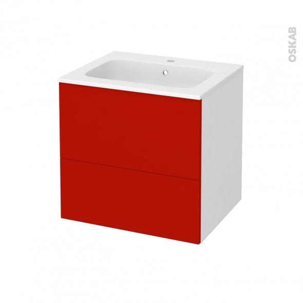 GINKO Rouge - Meuble salle de bains N°621 - Vasque REZO - 2 tiroirs  - L60,5xH58,5xP50,5