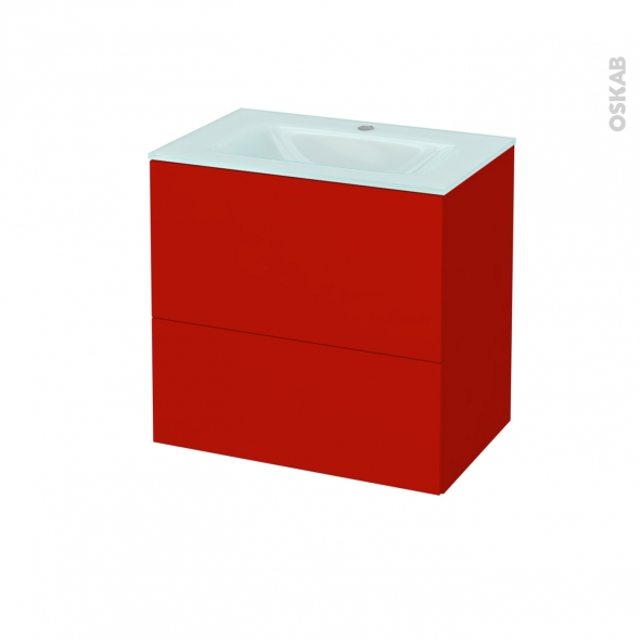 GINKO Rouge - Meuble salle de bains N°622 - Vasque EGEE - 2 tiroirs Prof.40 - L60,5xH58,2xP40,5