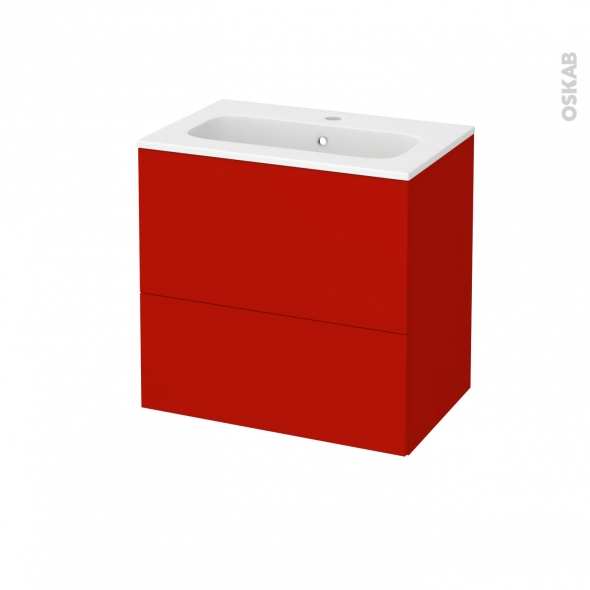 GINKO Rouge - Meuble salle de bains N°622 - Vasque REZO - 2 tiroirs Prof.40 - L60,5xH58,5xP40,5