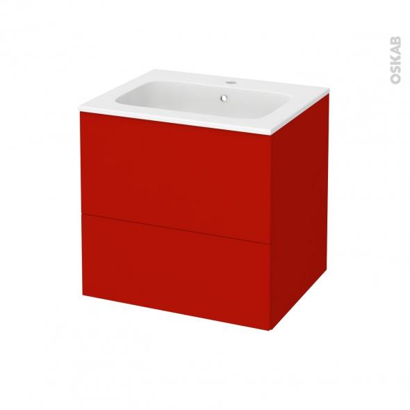 GINKO Rouge - Meuble salle de bains N°622 - Vasque REZO - 2 tiroirs  - L60,5xH58,5xP50,5