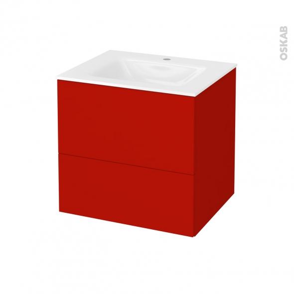 GINKO Rouge - Meuble salle de bains N°622 - Vasque VALA - 2 tiroirs  - L60,5xH58,2xP50,5
